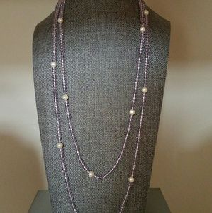 Crystal and pearl with magnetic clasp